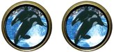 GiftJewelryShop Bronze Retro Style Killer Whale Show Photo Stud Earrings 12mm Diameter