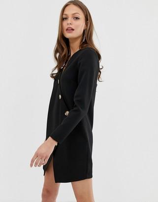 Asos Design DESIGN asymmetric shift mini dress with tortoiseshell buttons-Black