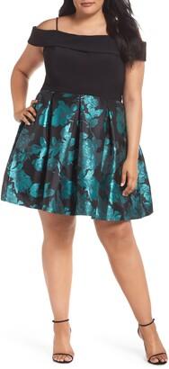 Morgan & Co. Cold Shoulder Fit & Flare Dress