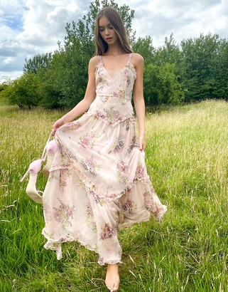 ASOS DESIGN embellished strappy tiered maxi with ruffle detail and rope trim in floral print in Pink