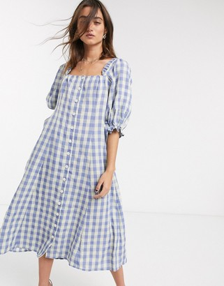 Capulet haddie check square neck midi dress in neptune gingham