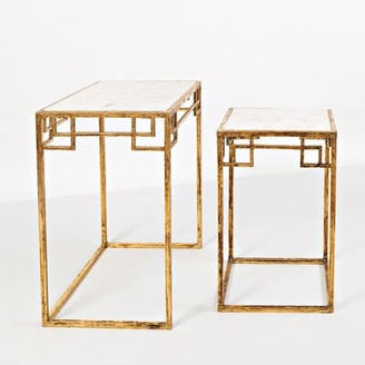 Bungalow Rose Callimont Genuine Marble Sled Nesting Table Table Base Color: Antique Gold