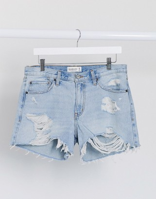 Abercrombie & Fitch distressed shorts in midwash blue