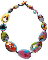 Jackie Brazil Kandinsky Long Flat Resin Riverstone Necklace, Multi