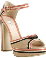 beige patent leather bow detail sandals