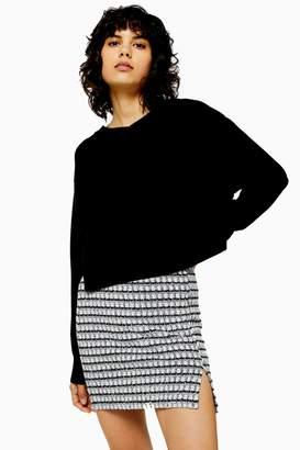 Topshop Womens Knitted Bonded Boxy V Neck Jumper - Black