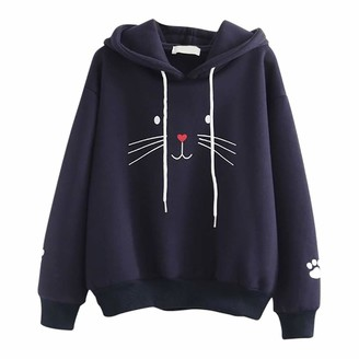 Kimodo Llc KIMODO Women's Cat Print Lightweight Hoodie Sweatshirt Long Sleeve Casual Drawstring Pullover Shirt White