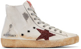 Golden Goose Deluxe Brand Ivory and Burgundy Glitter Francy High-top Sneakers