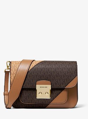 MICHAEL Michael Kors Sloan Editor Two-Tone Logo And Leather Shoulder Bag