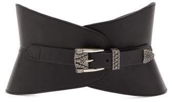 Etro Crystal Buckle Leather Waist Belt - Womens - Black