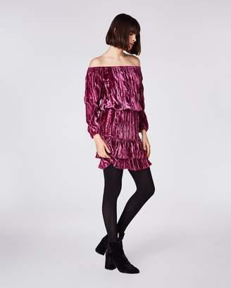 Nicole Miller Crinkled Velvet Smocked Dress