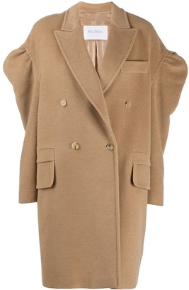 Max Mara Dropped Puff Sleeves Double-Breasted Coat