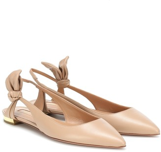 Aquazzura Bow Tie leather ballet flats