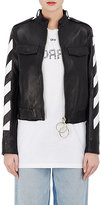 Off-White Women's Stripes-And-Roses Embellished Leather Moto Jacket