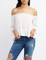 Charlotte Russe Ruffle-Trim Off-The-Shoulder Top