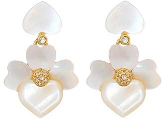 Kate Spade Precious Pansy Drop Earrings (Cream Multi/Gold) Earring