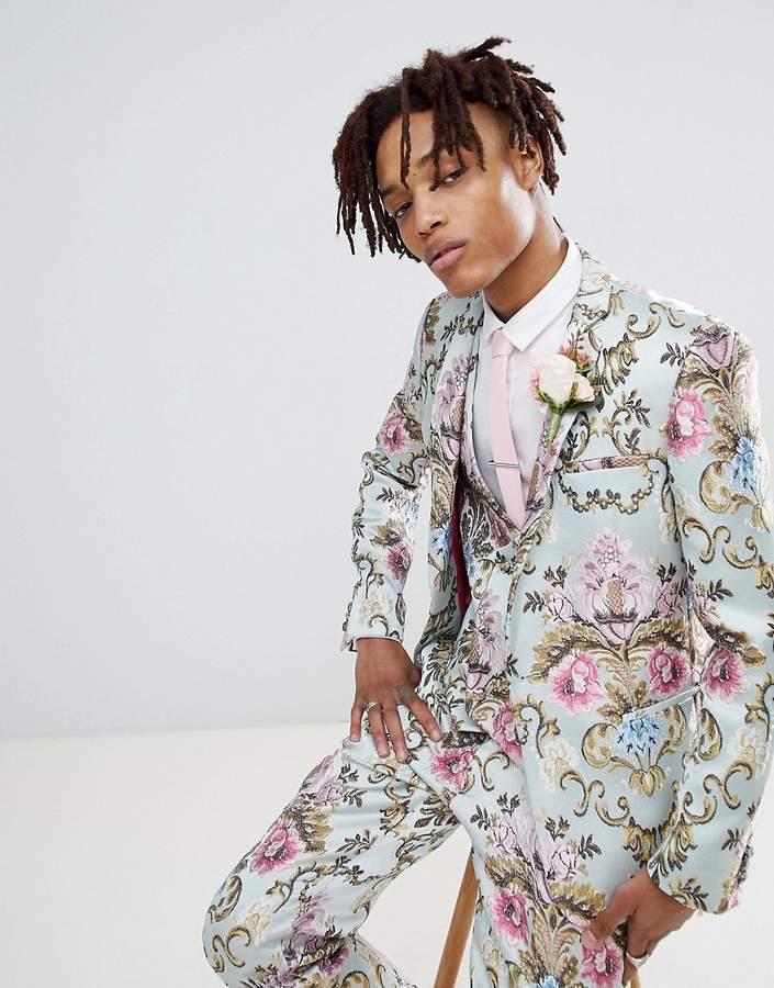 Asos Edition Wedding Skinny Suit Jacket In Pastel Floral Jacquard