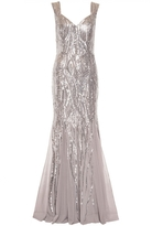 Quiz Silver Sequin Sweetheart Fishtail Maxi Dress