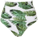 Melissa Odabash Caribe Palm-Print High-Waist Bikini Bottom