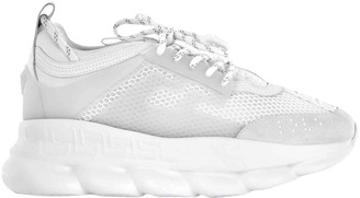 Versace Chain Reaction White Leather Trainers