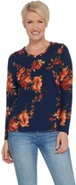 Denim & Co. Printed Perfect Jersey V-Neck Long-Sleeve Top