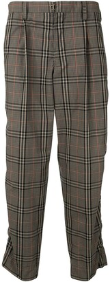 Kolor Straight-Leg Check Cropped Trousers