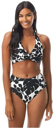 Kate Spade Monstera Knotted Halter Top Ties at Neck and Back (Black) Women's Swimwear