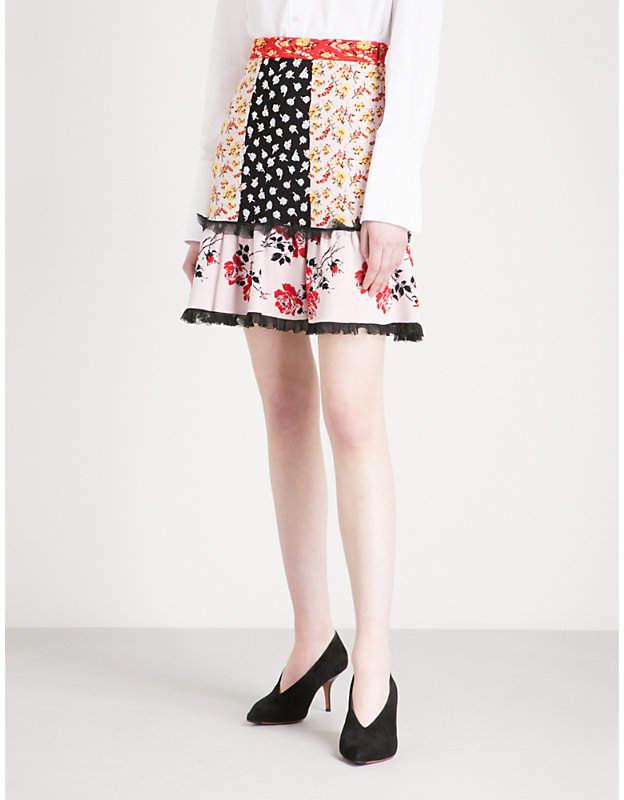 Alexander McQueen Patchwork-panel high-rise jacquard mini skirt