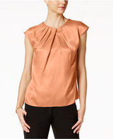 Kasper Satin Pleat-Neck Shell