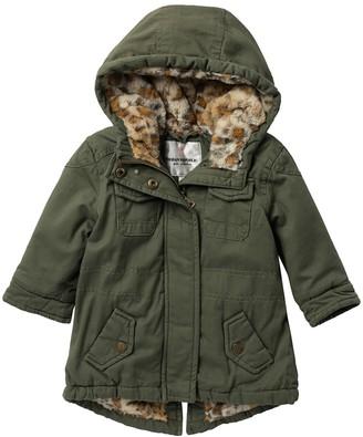 Urban Republic Cotton Twill Anorak Faux Fur Leopard Jacket (Baby Girls)