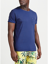 Scotch & Soda Twist Neck Pocket T-shirt, Denim Blue