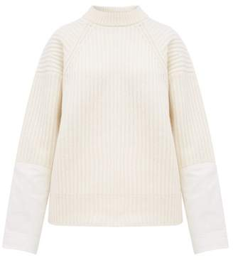 Haider Ackermann Banded Canvas-cuff Ribbed Wool Sweater - Womens - Ivory