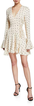Shona Joy Odell Polka-Dot Long-Sleeve Frill Cuff Mini Wrap Dress