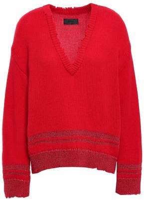 RtA Distressed Metallic Cashmere Sweater