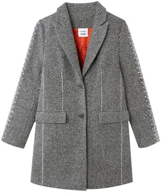 La Redoute Koché X Unisex Single-Breasted Wool Mix Coat with Pockets and Diamante Sleeves