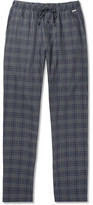 Hanro Checked Cotton-flannel Pyjama Trousers - Navy
