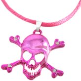 Zeckos Metallic Skull Crossbones Pendant Cord Necklace