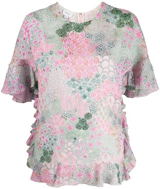 Giambattista Valli Botanical Flora-Print Georgette Top