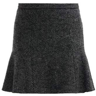 RED Valentino Mid Rise Herringbone Tweed Mini Skirt - Womens - Grey