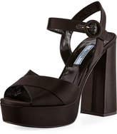 Prada Satin Crisscross 115mm Platform Sandal