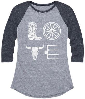 Instant Message Women's Women's Tee Shirts ATH - Athletic Heather & Heather Black 'Love' Country Raglan Tee - Women