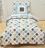 Bacati Modern Diamond/Stripes Aqua and Chocolate 4 Piece Toddler Bedding Set