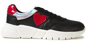 Love Moschino Appliqued Glittered Leather Sneakers