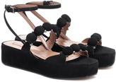 Alaia Embellished suede platform sandals
