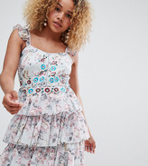 Asos DESIGN Petite floral tiered embroidered mini dress