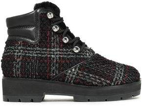 3.1 Phillip Lim Leather-trimmed Checked Boucle-tweed Ankle Boots