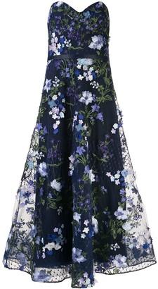 Marchesa Notte Floral Applique Flared Gown