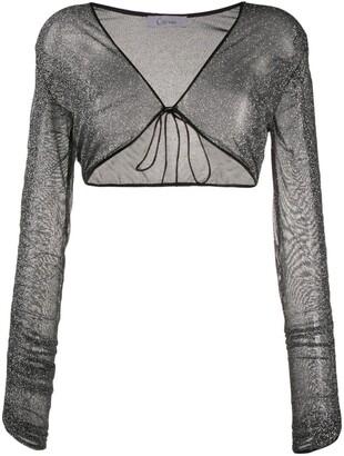 Oseree metallic gathered-sleeve shrug