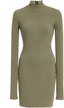 Cotton Citizen Ibiza Mock-Neck Ribbed Stretch-Cotton Mini Dress