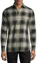 Tom Ford Plaid Flannel Military Shirt, Green